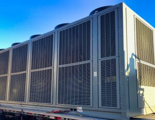 Desert Tech new installation of large rooftop package HVAC unit in Palm Desert
